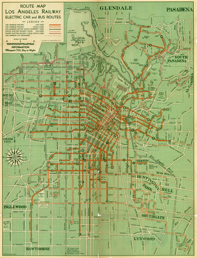 Los Angeles Railway - 1938 Route Map
