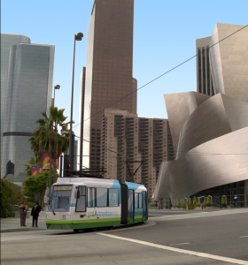 Disney Concert Hall with Streetcar
