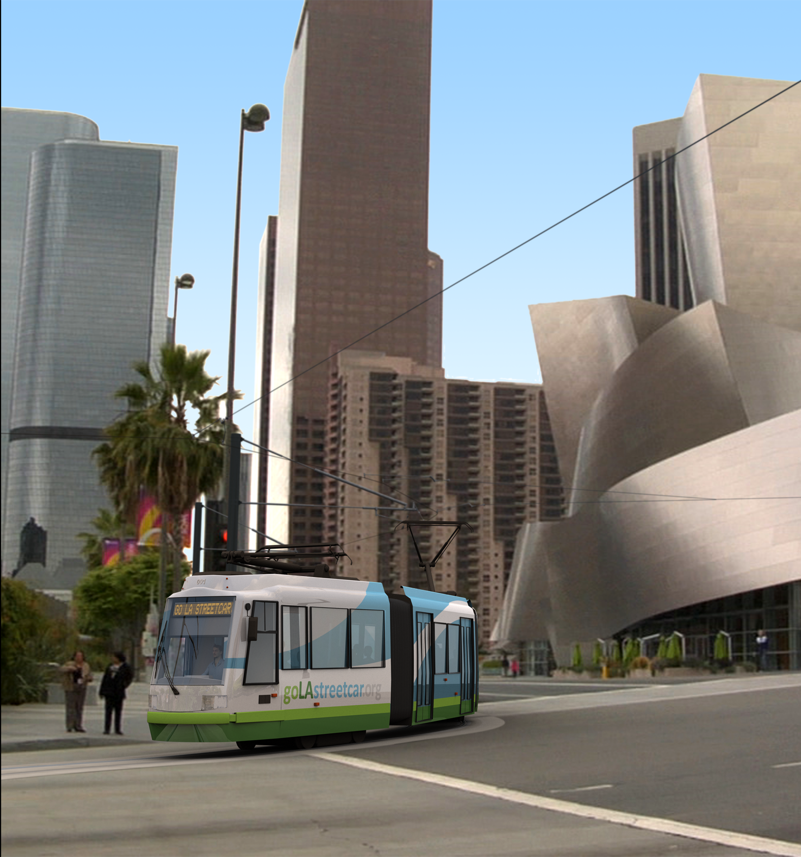 Disney Concert Hall with LA Streetcar