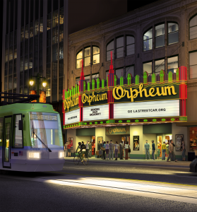 LA Streetcar in front of The Orpheum Theatre