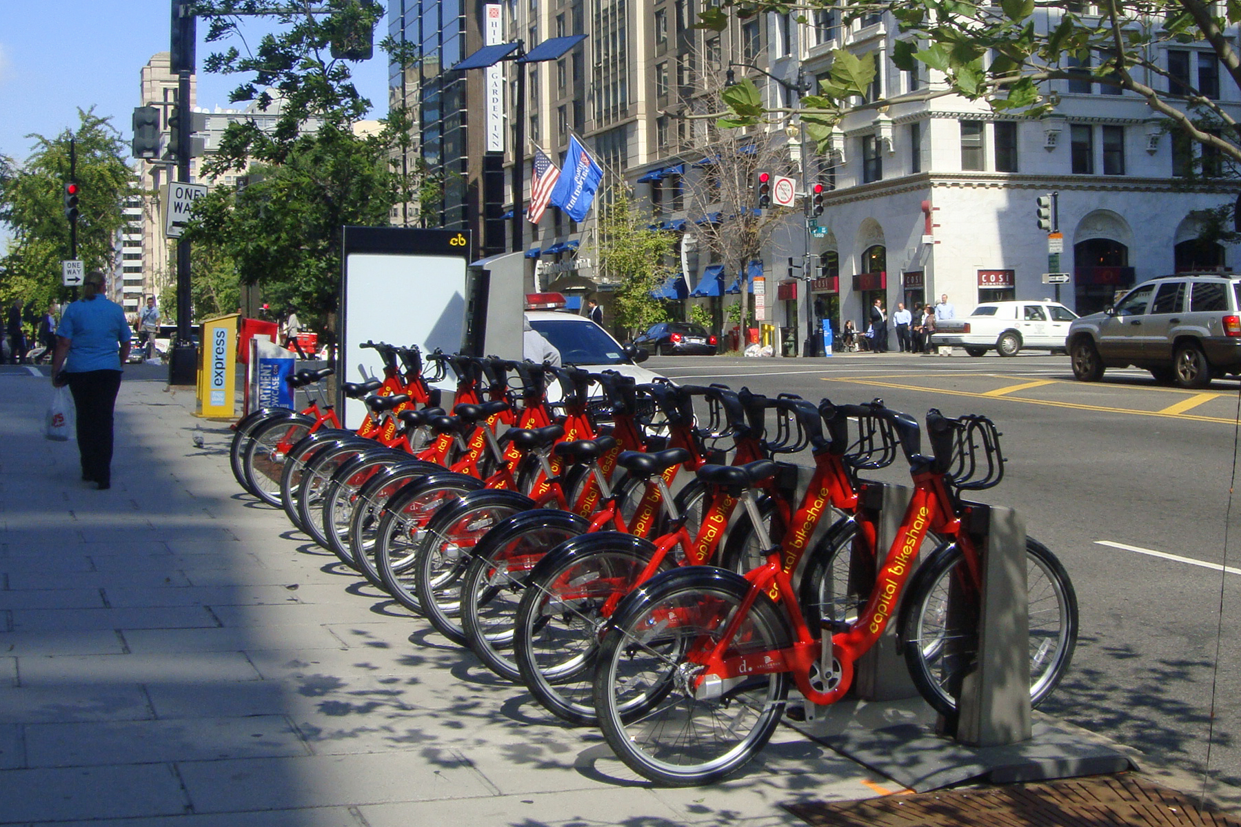 Capital Bikeshare rental station near McPherson Square Metro (WMATA) station, downtown Washington, D.C.