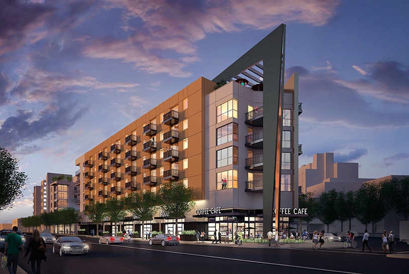 Rendering of TCA Architect's Camden Glendale apartments, which received a 32.5% density bonus.